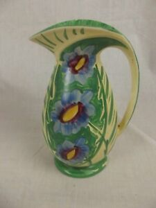 Myott, Son & Co. Art Deco Chicken Neck Vase With A Stylised Blue Flower Pattern