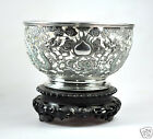 ANTIQUE CHINESE EXPORT SOLID SILVER DRAGON WANG HING PIERCED BOWL CHINA 1900