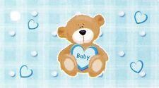 10 étiquettes fantaisies Baptême, ourson bleu, décoration de fêtes.