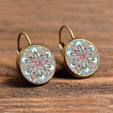 Vintage 1 Pair bronze Alloy Glass Round Flower Ear Stud Pierced Earrings Jewelry