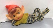 VTG 40'S-50'S PLASTIC Face Elf Laying in Plaid Pants CHRISTMAS DECORATION Felt
