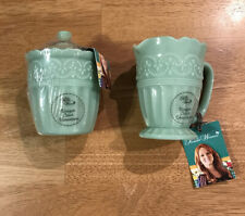 Set of 2 Pioneer Woman Green Jade Creamer and Sugar Bowl Timeless Beauty