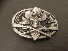 COWBOY SKULL  New BELT BUCKLE Metal Crossed Guns Skeleton Skull
