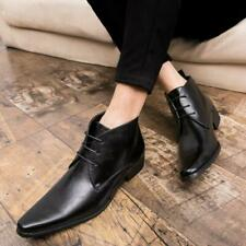 Men's Leather Ankle Boot Business Lace Up Oxfords Brogues High Top Pointed Shoes