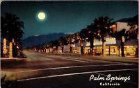 Autos 1950s PALM SPRINGS CALIFORNIA Palm Canyon Drive Shopping NIGHT POSTCARD