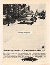 1969 Oldsmobile Toronado Driving in Snow Vtg Print Ad