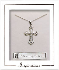 Delicate Sterling SIlver Filigree Cross with Crystal Stones