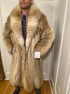 "Genuine 44"" Mens White Blonde Coyote Fur Jacket Size 38R Medium Over Top Coat"