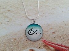 NAUTICAL INFINITY ANCHOR BEACH DESIGN CABOCHON STERLING SILVER CHAIN PENDANT