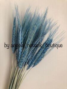 30PCS DRIED STEMS WHEAT/RYE WEDDING FLOWERS ARRANGEMENT NATURAL DECOR PALE BLUE