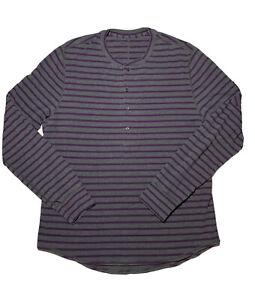 Lululemon Mens Long Sleeve Henley Shirt sz XL Striped Gray