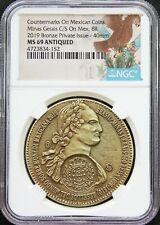 Mexico 2019 8 Reales Bronze Medal, Minas Gerais Counterstamp NGC MS69