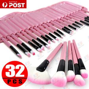32PCS Pink Cosmetic Makeup Brushes Brush Set Kit Leather Case Make Up Sponge