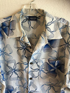 Sideout Hawaiian Shirt Stylized Hibiscus Blue on White Coconut Shell Buttons  M