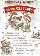 TO THE ONE I LOVE - Quality Large CHRISTMAS Card Cute Bears Design