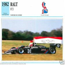 RALT RT3 1982 CAR VOITURE GREAT BRITAIN GRANDE BRETAGNE CARTE CARD FICHE