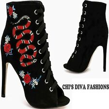 TRUFFLE COLLECTION 'HELEN324' Lace Up Embroidered Open Toe Boots  Sizes UK 5-8