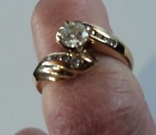 14k Yellow Gold 75 TCW Diamond Ring Solitaire w/accents Engagement Sz. 6.25