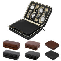 2/4/8 Slot Mens Watch Box Faux Leather Display Case Organizer Travel Storage