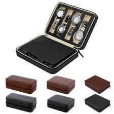 2/4/8 Slot Mens Watch Box Faux Leather Display Case Organizer Travel Storage