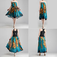1x Women Boho Peacock Skirt Long Casual Dress Maxi Summer Party Beach Sundress