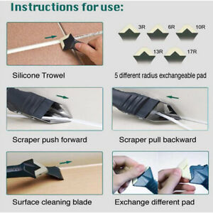 3 in 1 Silicone Caulking Tool Removal Residue Scraper Kit Sealant Replace Set HG
