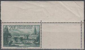 Frankreich 1938 Hafen von Saint Malo MiNr. 415 postfrisch - Eckrandstück