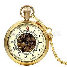 Retro Steampunk Gold Tone Skeleton Mechanical Mens Pocket Watch Pendant Necklace