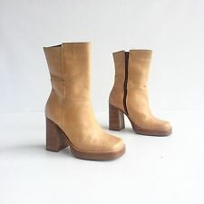 "Vintage 90s Candies Camel Brown Leather Platform Chunky 4"" High Heel Ankle Boots"
