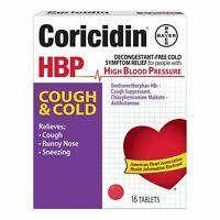 Coricidin HBP Cough and Cold with Antihistamine and Cough Suppressant 16 Tablets