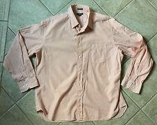 J. Crew Orange Striped Men's Dress Shirt Oxford Size 17-17 1/2 2 Ply bx28