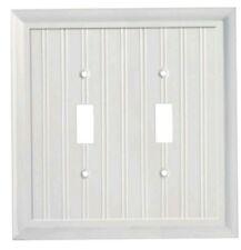 (lot of 3) Elumina Decor white wood electric wallplate Double Light Switch
