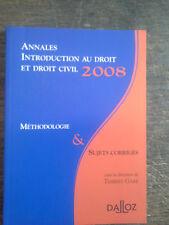 annales introduction au droit et droit civil 2008 méthodologie & sujets corrigés