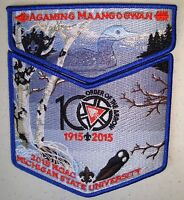 AGAMING MAANGOGWAN 804 2-PATCH 100TH OA CENTENNIAL 2015 NOAC FLAP GHOST DELEGATE