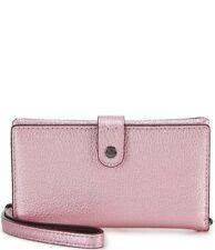 NEW COACH $99 Metallic Pink Leather Phone Wristlet Silver Hardware Wallet Womens
