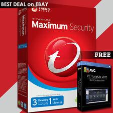 Trend Micro Titanium Maximum Security 2017 1 Year 3 PC + FREE AVG PC TuneUp 2017