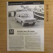 OPEL Ascona General Motors GM MAGAZINE MOTORE PROVE SU STRADA, BROCHURE RISTAMPA 1971