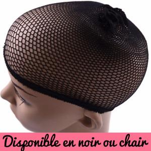Filet à cheveux pour perruque calotte résille couleurs disponibles noir ou chair