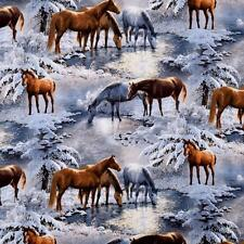 Fat Quarter Wild Wings Crystal Glenn Winter Horses 100% Cotton Quilting Fabric