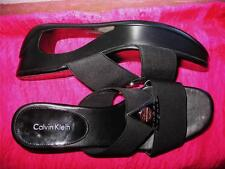 CALVIN KLEIN SHOES BLACK  OPEN TOE  W LOGO WEDGE STRETCH! SIZE 7 M/37,5