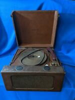 GE Model 15 Portable Turntable Speaker Tube Amp Record Player-33-45-78 VTG Rare