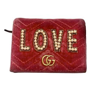 Gucci  Pink Velvet embellished ,,LOVE'' wallet