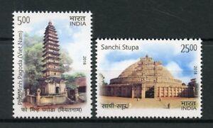 India 2018 MNH Ancient Architecture JIS Vietnam Pagodas Stupa 2v Set Stamps