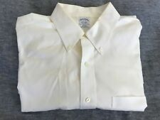 Mens BROOKS BROTHERS 17-33 Button Down Front White Long Sleeve Slim Fit M L