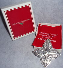 MIB 1978 Reed Barton Sterling Silver Christmas Cross Ornament Pendant Decoration