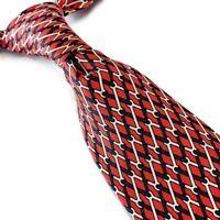 HERMES Mens 100% Silk Neck Tie Red Horsebit 7589 SA Made in France 3.5W 59L