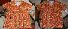 2 pc Christmas Mock Wrap & V neck Scrub Top Bottom Pockets Patch Leaves S to L