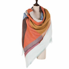 eUty Unisex Autumn Women Oversize Cashmere Wool Solid Scarf Stole with Geometric
