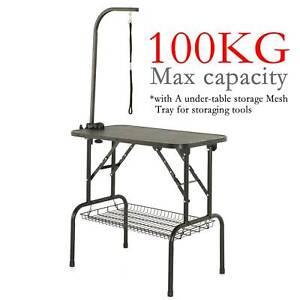 Dog Pet Grooming Table Non Slip Folding Bath Steel Arm Adjustable Height UK