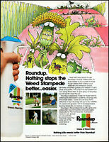 1988 Animated Weed Stampede Roundup grass weed killer vintage art print ad ads80